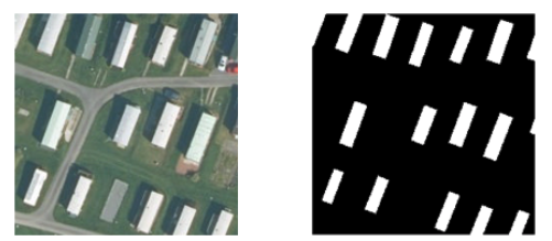 Training data. Image patch on the left and corresponding mask label on the right